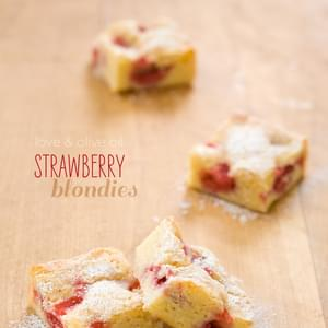 White Chocolate Strawberry Blondies