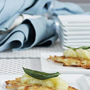 Potato Latkes with Apple Confit and Crispy Sage