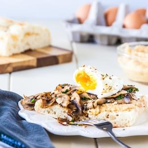 60 Second Microwave Poached Eggs With Mushrooms, Hummus & Dukkah