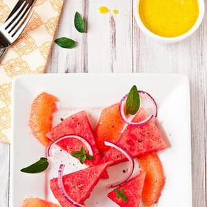 Watermelon Salad with Grapefruit-Mint Vinaigrette