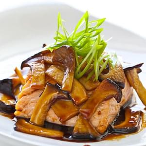 Teriyaki Mushroom Sauce with Grilled Salmon