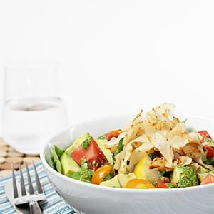 Heirloom Tomato and Avocado Salad with Crispy Wontons and Spicy Cilantro Vinaigrette