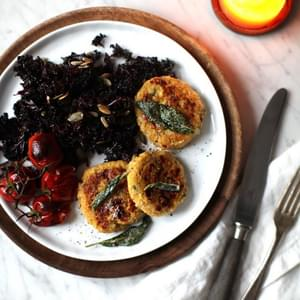 Spaghetti Squash Baby Cakes with Crispy Sage