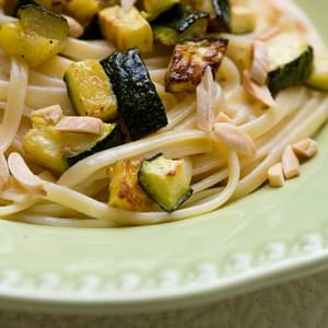 Creamy Pasta with Roasted Zucchini, Almonds and Basil