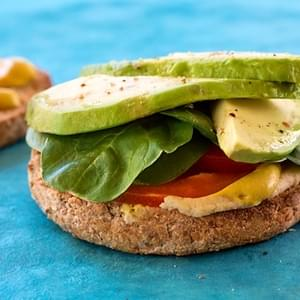 Hummus, Avocado, and Baby Spinach Sandwich