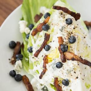 Wedge Salad with Bacon Blueberries and Blue Cheese