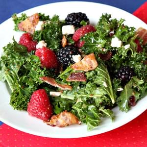 Berry and Bacon Kale Salad with Blackberry Vinaigrette