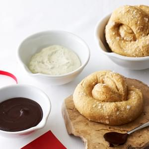 Whole Wheat Soft Pretzels with Two Dipping Sauces