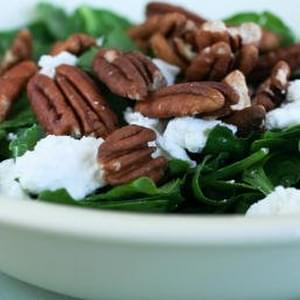 Spinach and Sorrel Chopped Salad with Pecans and Goat Cheese