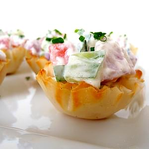 Cucumber-Tomato Bruschetta in Phyllo Cups