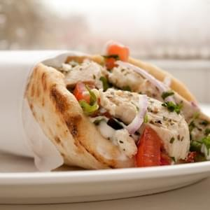 Lemon Chicken Gyros with Tzatziki and Feta