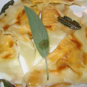 Pumpkin and Cream Cheese Ravioli in Sage and Butter Sauce