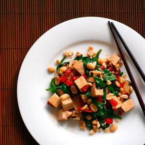 Spicy Thai Tofu with Red Bell Peppers and Peanuts