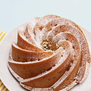 Olive Oil-Thyme Bundt Cake with Candied Meyer Lemon Peels and Citrus Compote
