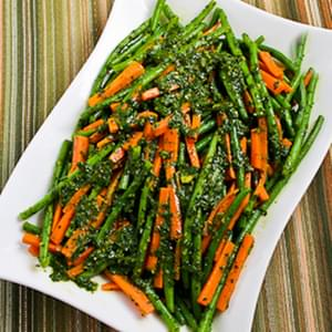 Steamed Green Beans and Carrots with Charmoula Sauce