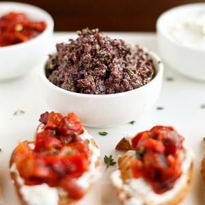 Kalamata Olive and Goat Cheese Crostini