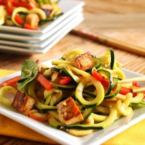 Asian Style Zucchini Noodle Salad with Baked Tofu