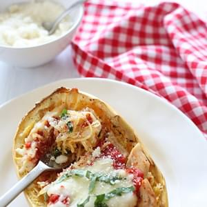Baked Spaghetti Squash Chicken Parmesan Boats