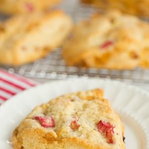 Cream Scones Infused With Vanilla Bean And Loaded With Rhubarb And Crystallized Ginger.