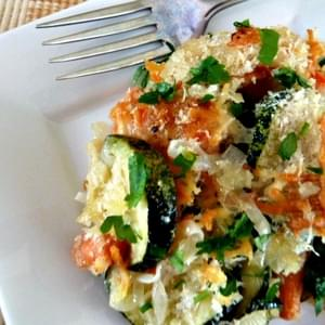 Onion, Zucchini, Carrot, and Cheese Bake for #onionlove