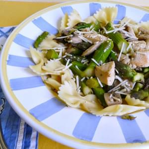 Chicken, Asparagus and Mushrooms with Lemon over Farfalle