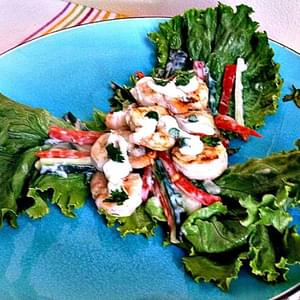 Shrimp Wraps or Salad with Spicy Dressing  Adapted from Leah Eskin