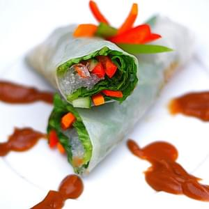 Vegetable Spring Rolls with Peanut Dipping Sauce
