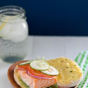 Roasted Salmon Sandwich with Garlic Chive Aioli