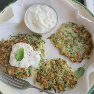Zucchini And Basil Fritters With Stracciatella Cheese
