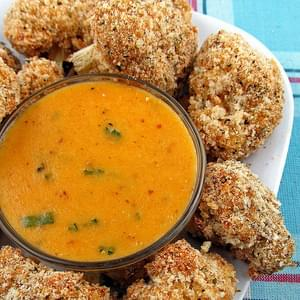 Baked Cauliflower Bites with Cheddar Dipping Sauce