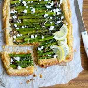 Asparagus Pâte Feuilletée with Scallions and Goat's Feta Cheese