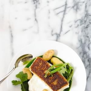 Seared Chilean Sea Bass with Potatoes & Herb Sauce