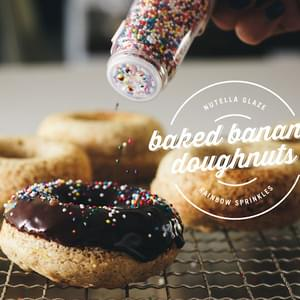 Baked Banana Donuts with Nutella Glaze