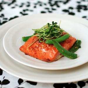 Salmon with Sweet Chili Glaze, Sugar Snap Peas, and Pea Tendrils