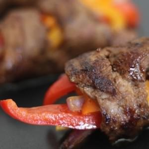 Marinated Steak and Bell Pepper Rolls Ups