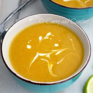 Curried Butternut Squash Soup with Miso Broth (Vegan)