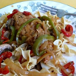 Savory Chicken with Bell Pepper and Mushrooms   From Joanna