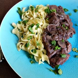 Pork Tenderloin Medallions in Red Wine Sauce with Mushrooms