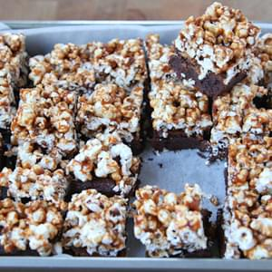 Spicy Caramel Popcorn Mexican Chocolate Brownies