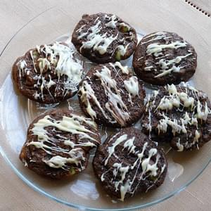 Double Chocolate Cookies with White Chocolate Drizzle