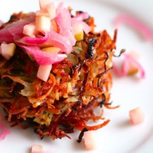 Potato Leek Pancakes with Red Onion-Apple Compote