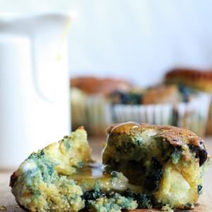 Roasted Blueberry and Brie Cornbread Muffins with Warm Honey Butter