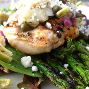 Lemon Pepper Chicken with Artichoke Salsa & Roasted Asparagus