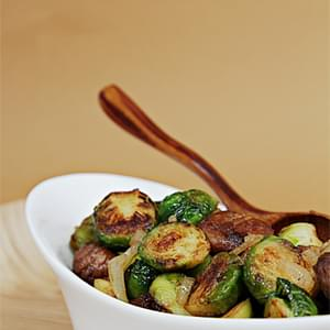 Maple–Glazed Pan-Roasted Brussels Sprouts with Chestnuts