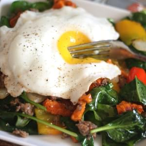 Sweet Potato, Onion, Bell Pepper and Sausage Hash with Beet Greens or Spinach