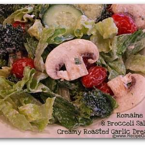 Romaine and Broccoli Salad with Creamy Roasted Garlic Dressing
