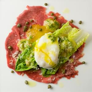 Filet Mignon Carpaccio with Mini Caesar Salad and Poached Egg