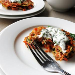 Zucchini and Carrot Cakes with Chive and Basil Sour Cream (Gluten Free)