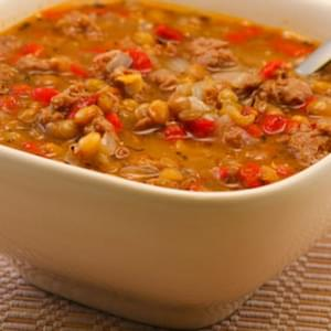 Lentil Soup with Italian Sausage and Roasted Red Peppers