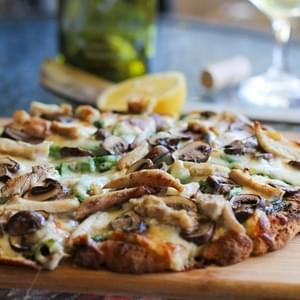 Roasted Chicken and Mushroom Pesto Pizza